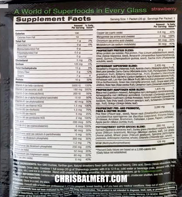 strawberry shakeology nurtional info ingredients